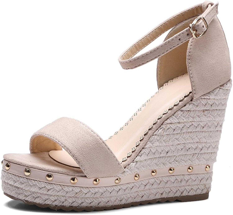 Womens Sandals Platform High Heels Ankle Strap Rivet Wedges Sandals Ladies shoes