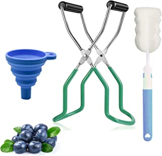 Canning Jar Lifter Tongs, AOVANA Canning Jar Lifter Tongs Kit with Rubber Grips Come with 1 Silicone Collapsible Funnel 1 ...