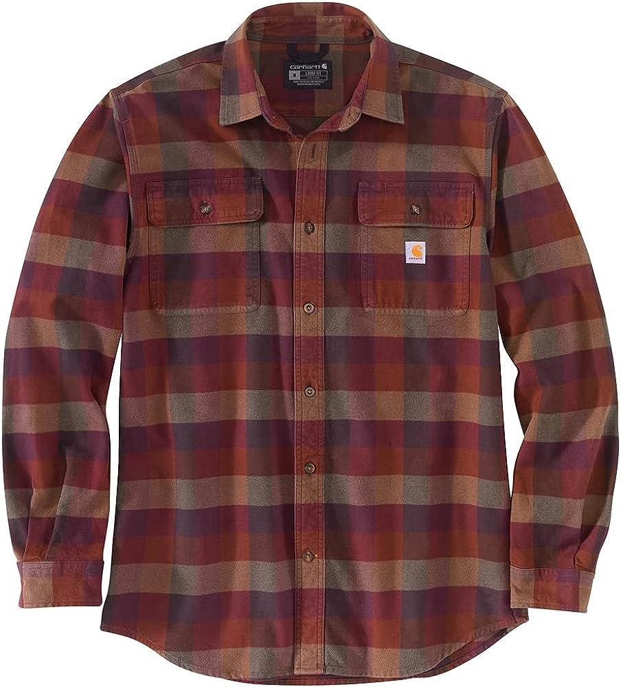 Carhartt Men's Loose Fit Heavyweight Flannel Long Sleeve Plaid Shirt