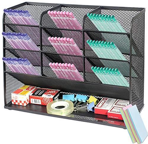 Qualsen 4Pcs portapenne da scrivania, organizer scrivania Portaoggetti per ufficio, scuola, forniture per la casa, Nero