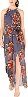 BCX Womens Juniors Floral Halter Maxi Dress