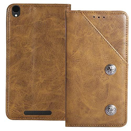 YLYT Flip Braun Schutz Hülle Hülle Für Archos Core 55 4G 5.5 inch Etui Leder Tasche Handyhülle Hochwertiges Stoßfeste Kartenfach Cover