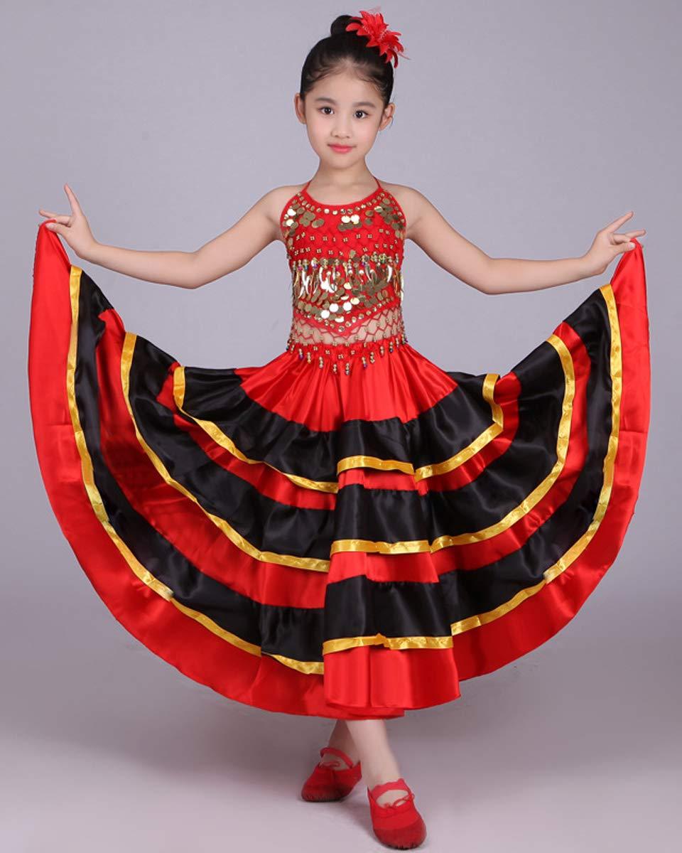 Grouptap Disfraz de Baile Flamenco Rojo para niñas españolas Rojas ...