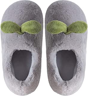 Bag with Cartoon Cotton Slippers Female Couple Warm Plush Thick Bottom Non-Slip Wooden Floor Cotton Shoes Men Winter Indoor Bedroom Non-Slip Slippers Plush Slip (Color : Grey, Size : 42-43)