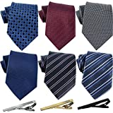 Jeatonge Lot 6 Pcs Mens Ties and 3 Free Tie Clips, Men's Classic Tie Necktie...