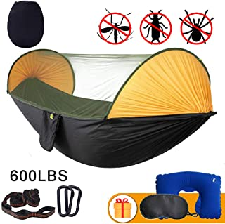 Anxin Camping Hammock with Mosquito Bug Netting,Packable Hammock with Tree Straps and Carabiners,Parachute Nylon Hanging S...