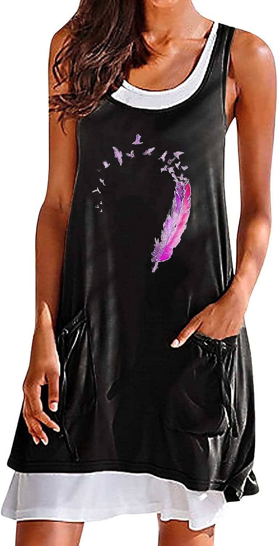 GOODTRADE8 Dresses Maxi Dress Summer Dress Sundress Women's Casual Round Neck Print Sleeveless Splicing Dress