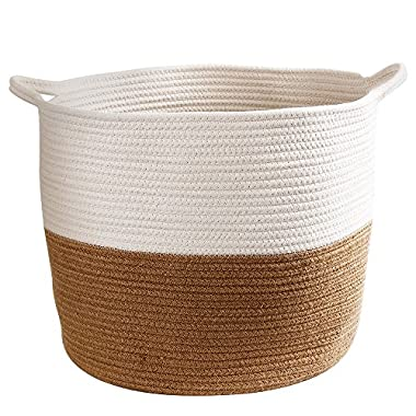 Storage Cotton Basket Extra Large 17 x 14  with Handles,Laundry Basket,Cotton Rope Decorative bin Organizer for Towels, Blankets,Toys,Books in Living Room,Bathroom,Baby Nursery