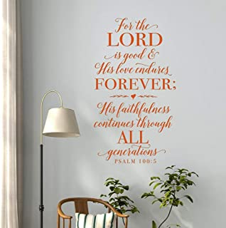 WSYYW Because The Lord is Kind, His Love Will Endure The Christian Wall Decoration Stickers Bible Psalms Psalms 100:5 Scripture Wall Decals Family Garden Wall Stickers Light Blue 101x57cm