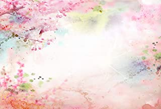 Abstract Style Spring Floral Watercolor Style Painting Image Nature Art Background for Baby Shower Birthday Wedding Bridal Shower Party Decoration Photo Studio 6.5x10 FT Photography Backdrop