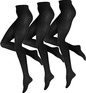 Vincent Creation 3 Stück Damen Baumwoll Strumpfhose, Strickstrumpfhose in schwarz, braun und anthrazit