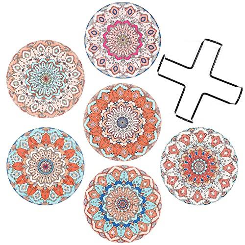 SUEH DESIGN Ceramica Sottobicchieri Set di 6 Mandala Sottobicchieri con Sughero 8 Pezzi Bevande Antiscivolo Bevande Assorbenti Sottobicchieri con Supporto per Birra Caffè Boccale Vino