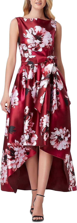 TAHARI Womens Burgundy Floral Sleeveless Jewel Neck Tea-Length Fit + Flare Cocktail Dress Size 4