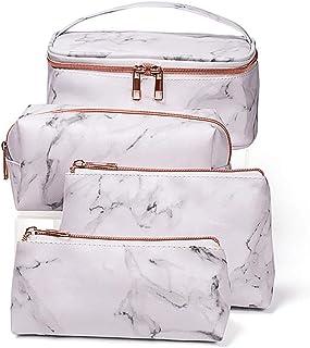 4 Pack Marble Makeup Bag Toiletry Bag Travel Bag Portable Cosmetic Bag Makeup Bag Waterproof Organizer Bag for Women Girls...