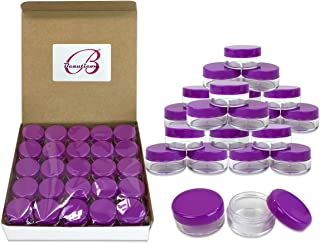Beauticom 5G/5ML Round Clear Jars with Purple Lids for Jams, Honey, Cooking Oils, Herbs and Spices - BPA Free (Quantity: 100 Pieces)
