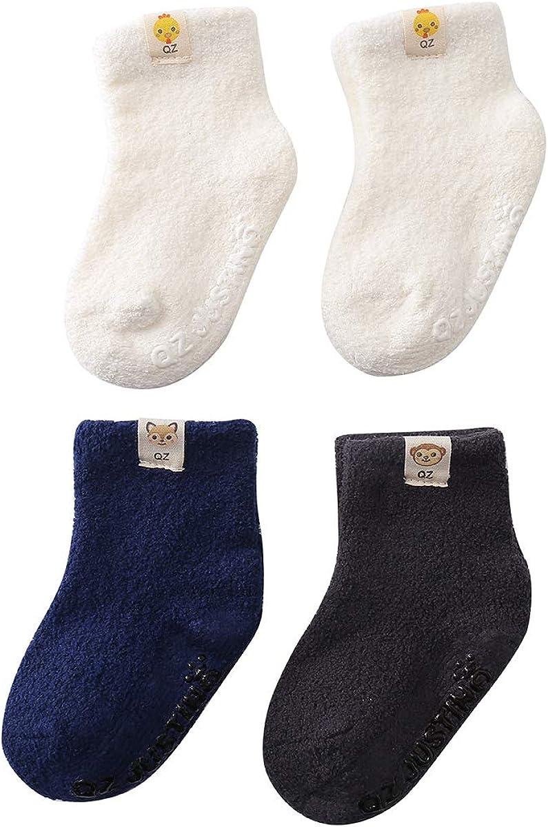 Ninecoo Baby Anti Skid Cozy Socks,Thick Warm Soft Infant Grippy Fluffy Socks,Toddler Fuzzy Kids Girls Boy