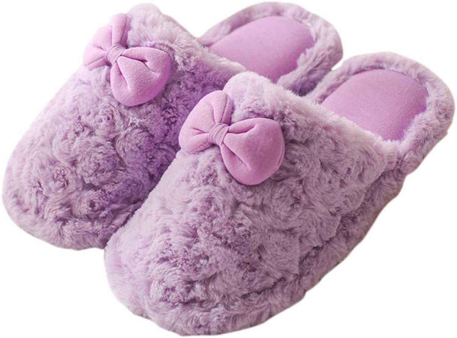 HUYP Sweet Cute Cotton Slippers Autumn and Winter Indoor Non-Slip Fashion Female Home (color   Purple, Size   6 US)