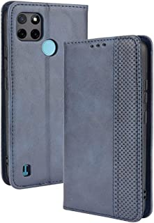LAGUI Compatible for Realme C21Y Case, Retro Style Wallet Magnetic Cover with Credit Card Slots and Flip Stand. blue