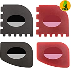 Pan Scrapers, 4 Pack Durable Plastic Pan Scrapers 100% Useful Grill Pan Cleaner Scraper Tools for Cast Iron Skillets, Cookware Pans, Grill Pans (Classical Black, Kitchen Red)