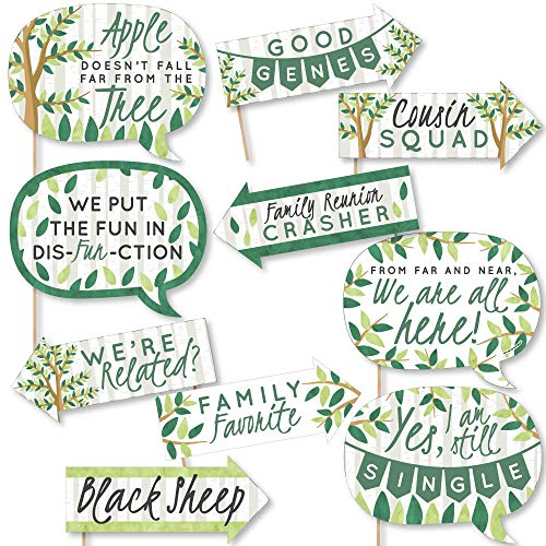 Funny Family Tree Reunion – Family Gathering Party Photo Booth Props Kit – 10 Piece