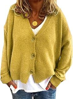 Minetom Femme Cardigan Manches Longues Lâché Veste Courte Gilets en Tricot Chandail Elégant Automne Bouton Blouson Outwear...