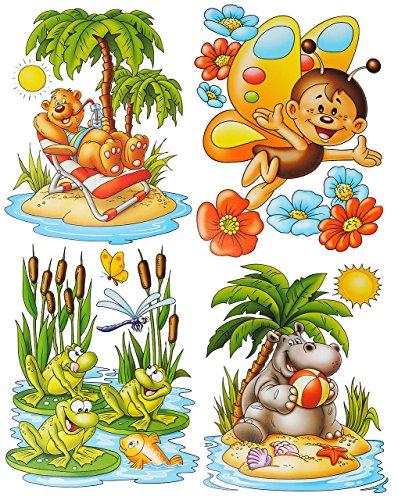 alles-meine.de GmbH 1 Bogen: Fensterbild - lustige Tiere - Frosch - Seepferd - Schmetterling - Teddy auf der Insel - statisch haftend - Sticker Fenstersticker / z.B. für Fenster ..