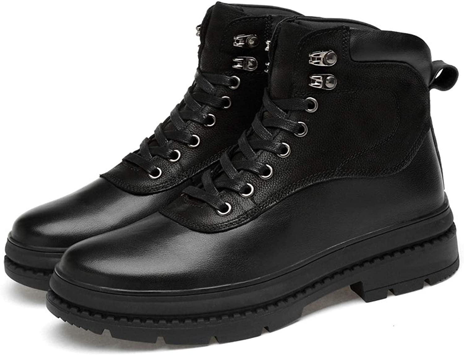 DANDANJIE Men's Martin Boots Fall Winter Warm High-top Leather Boots Lace Up Combat Boots Anti Slip Outdoor shoes