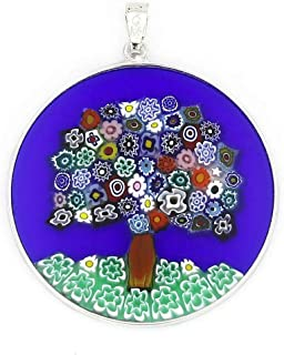 GlassOfVenice Murano Glass Millefiori Pendant Tree of Life in Silver Frame 1-1/2