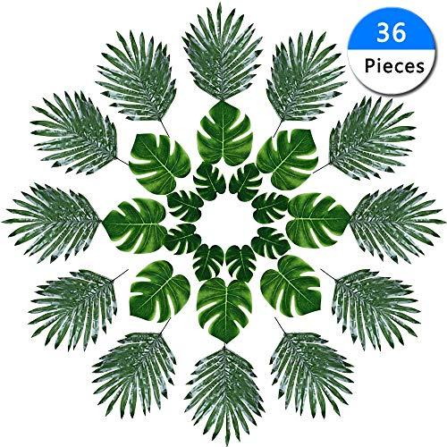 Eokeanon 36 Piezas Hoja de palma tropical Artificiales Plantas Tropicales Hojas Artificiales Hojas de…