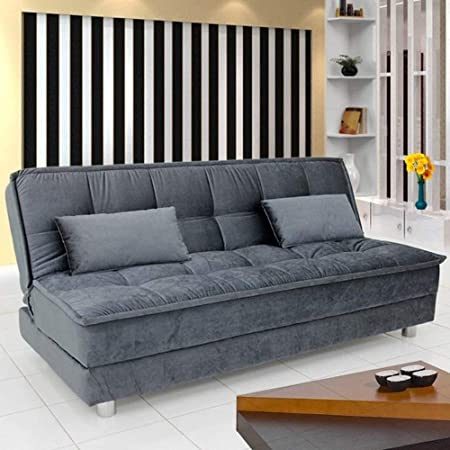 FURNY Wood 3 Seater Gaiety Sleeper Supersoft Sofa Cum Bed (Grey)
