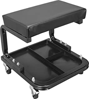 Torin ATR6300B Rolling Creeper Garage/Shop Seat: Padded Mechanic Stool with Tool Tray Storage, Black