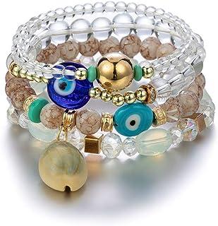 Pingyongchang Boho Multilayer Evil Eye Protection Bracelet Beads Charm Stretch Stackable Bracelets for Women Vintage Jade ...