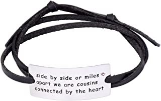 Side By Side Or Miles Apart We Are Cousins Connect By The Heart Leather Bracelet