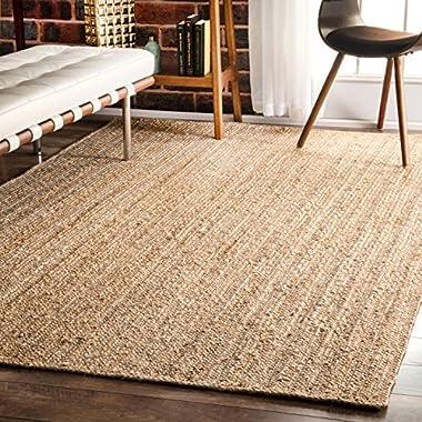 nuLOOM Natural Hand Woven Rigo Jute rug Area Rug, 8' x 10'