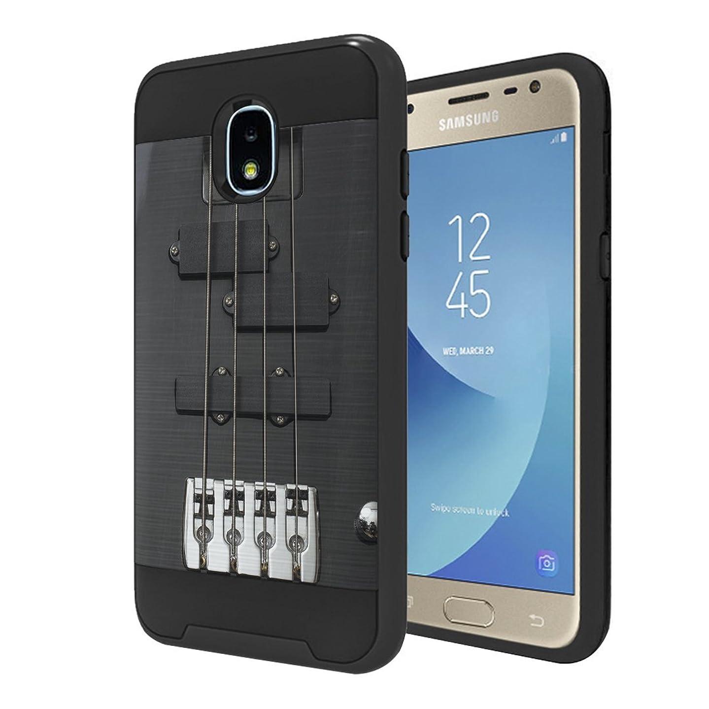 Capsule Case Compatible with Samsung Galaxy J3 2018 (J337), J3 Star, Amp Prime 3, Express Prime 3, J3V, J3 Eclipse 2, J3 Achieve, Sol 3, J338 [Hybrid Case Black] - (Black Guitar)