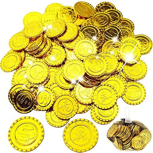 WELLXUNK Monedas Oro,100 Moneda de Fiesta Piratas ,Monedas de Oro plástico,Conjunto de Juguete Joya Moneda de Oro para Niños Fiesta Pirata Infantil Cumpleaños Regalo