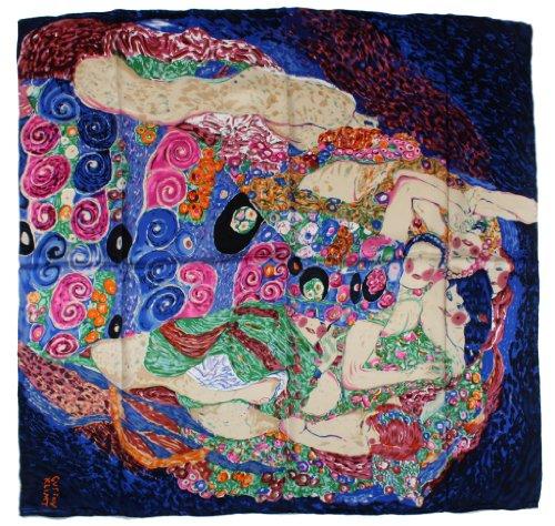 Nella-Mode bezauberndes SEIDENTUCH Seidenschal nach Gustav Klimt Die Jungfrau (blau) Schal Tuch 100% Seide Kunstdruck Jugendstil Malerei 85x85 cm