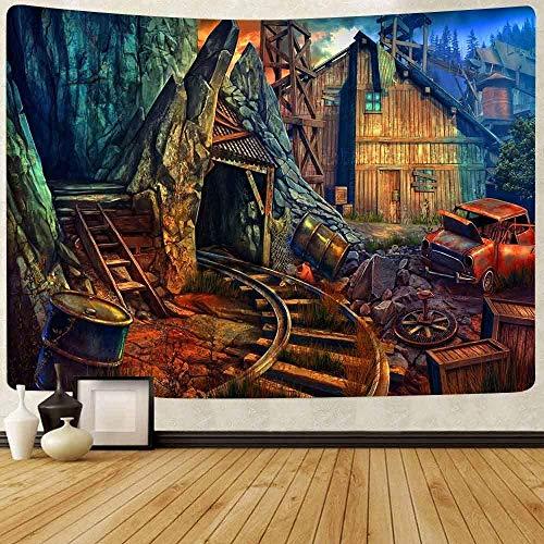 Yhjdcc Tapiz de ferrocarril Tapiz de casa de Pueblo Tapiz TEM¨¢Tico de Aventura Tapices para Colgar en la Pared para Dormitorio Apartamento Dormitorio Sala de Estar 150cm x 200 cm