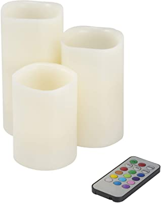 "Lavish Home 72-0030C 3 Piece LED Color Changing Flameless Candle Set w/Remote, 3""x3""x6"", Multicolor"