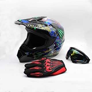 SD&ZC Youth Kids Offroad Gear Combo Helmet Gloves Goggles DOT Motocross Off-Road Racing ATV Dirt Bike Protector (#1, M)