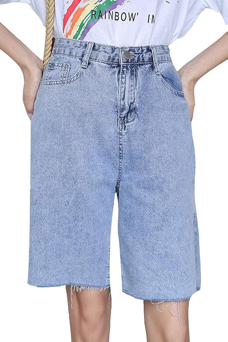 Women's Classic High Waist Bermuda Shorts Fashion Summer Relaxed Fit Jean Shorts