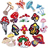 15 Pieces Mushroom Patches Iron-on Mini Mushroom Patches DIY Mushroom Shape Patches Decoration Mushroom Fabric Patches Embroidery Sewing Craft Patches for Clothing Dress Hats Pants Shoes Curtains