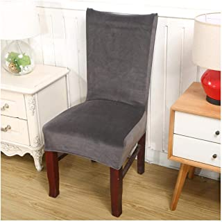 A Perfect Solid Color Gray Plush Fabric Chair Cover Velvet Thick Seat Cover for Dining Room Wedding Office Banquet Chair Slipcovers,Color 12,Universal Size