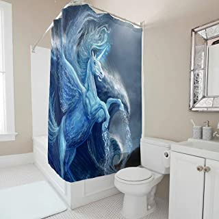 Qingyue Shower Curtains Set Unicorn, Wings, Light, Horns Waterproof Printed 100% Polyester with Hooks for Bathroom Decor White 72x72inch