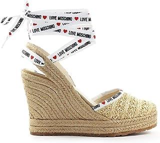 Luxury Fashion | Love Moschino Women JA1047AI0AJQ0107 Beige Fabric Wedges | Spring-summer 20