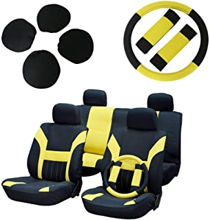 ECCPP Universal Car Seat Cover w/Headrest/Steering Wheel/Shoulder Pads - 100% Breathable Polyester Stretchy Durable for Most Cars Trucks Vans(Black/Yellow)
