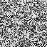 Stoff Meterware Baumwolle Jacquard Zebra weiß schwarz