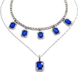 Salircon Layered Tennis Chain Necklace with Big Rhinestone Pendant Choker Necklace for Women Beautiful Aesthetic Wedding J...