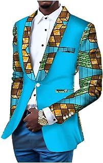 Men African Printed 1 Button Shawl Lapel Dashiki Blazer Big Tall Jackets