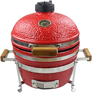 16 Inch Ceramic BBQ Grill, Pizza Baking Chicken Grilled Roasted Oven Beef Steak Cooking Grid, Smoker Barbecue Grill for Pi...